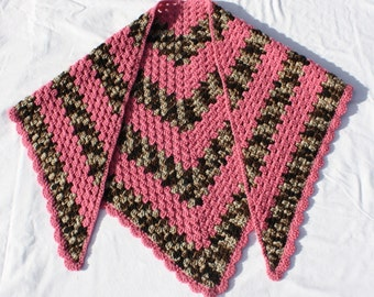 Pink and Brown Shawl, Crochet Prayer Shawl, Striped Shawl, Triangular Shawl, Pink and Brown Camo Shawl