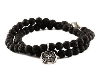 Black Wrap Bracelet Lave Beads Sterling Silver Mens Jewelry
