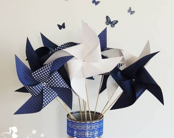 Set of 10 pinwheels wind color Navy Blue and white 15cm