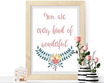 Wonderful Print, Love Print, Romantic Print, Quote Print, Wall Art, Print At Home, Printable Picture, Floral Print, Home Decor Print