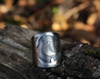 Moon Ring in sterling silver , adjsutable