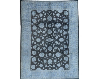 9'x12' Hand-Knotted Black Overdyed Peshawar Pure Wool Oriental Rug