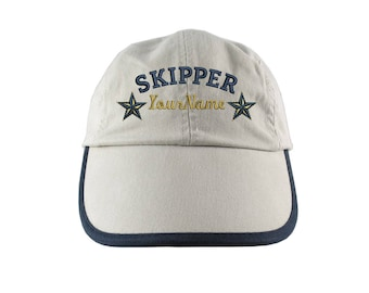 Personalized Nautical Skipper Stars Embroidery on a Polo Style 5 Panel Adjustable Beige and Navy Unstructured Cap for the Boating Enthusiast