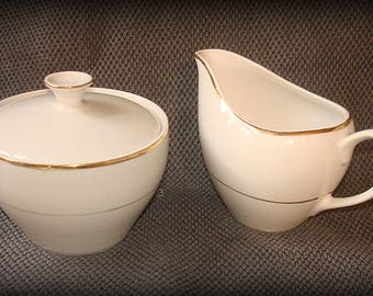 Sugar Bowl with Lid & Creamer Set by Fine China of Japan Sonnet Pattern White with Gold Trim Mixes Well with Other Patterns
