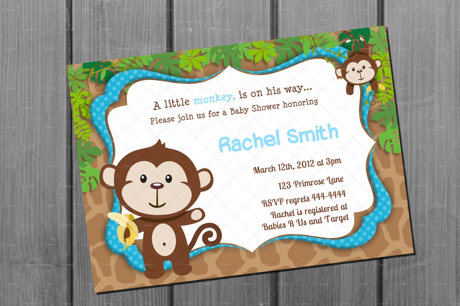 Monkey Blue Boy Baby Shower Invitation FREE Thank You Card