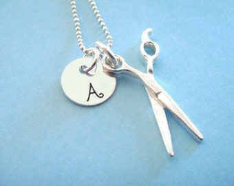 Hair Dresser Gift // Hair Stylist Scissor Charm // Initial Disc // gifts for her // Hair Dresser Necklace // Shears Charm