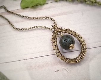 Aromatherapy Necklace / Wire Wrapped Lava Rock Necklace / Essential Oil Diffuser Necklace / Therapy Necklace / Diffuser Jewelry