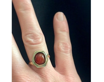 Carnelian and Brass Statement Ring