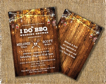 Rustic Wood Wedding Invitation, I Do BBQ, Couples Shower, Engagement Party, Barn Wood, 5x7 Printable JPG Files for professional printing