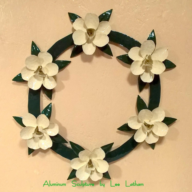 Wreath: Magnolia Antique White Green Wall Decor Metal