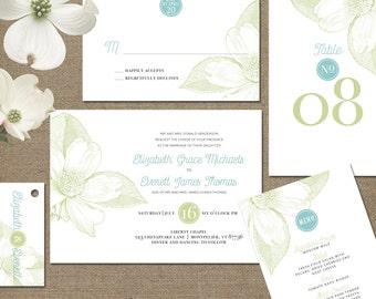 Wedding Invitation Printed Wedding Invitations Spring Floral Invitations Wedding Invites Dogwood Flowers Wedding Invitation Suite Formal