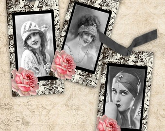 Vintage Glam Tags DIGITAL Collage Sheet Instant Download Scrapbooking Paper Crafts Greeting Cards Jewelry Display