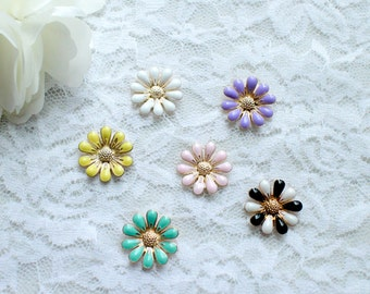 10 Flower FLATBACK Embellishment Gold Metal Base/Wedding Bouquet/craft supplies/Wedding Jewerly
