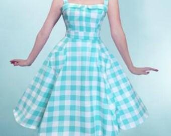 Aqua Gingham Lucy Dress