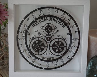 Personalised framed 'happy times' clock papercut gift for Grandparents