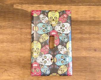 Sugar Skull Light Switch Cover, Sugar Skull Home Decor, Halloween Decor, Dia de los Muertos Decor, Sugar Skull Switchplate, Day of The Dead