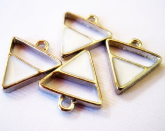 4 Silver Tone White Enamel Triangle charms, 18x16mm, Jewelry Making Supplies, Charms, Triangle Charms G1427