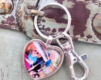 Custom Made Photo Keychain - GLASS Photo Keychain with Lobster Clasp or Purse Key Clip Set in Silver Tray - Handmade Gift