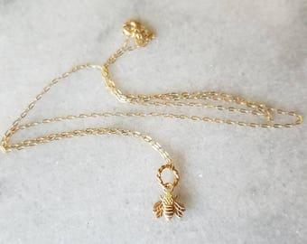 Tiny 14k gold bumble bee  pendant, gardeners pendant, bee pendant