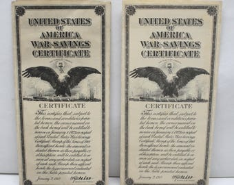 Original United States of America Unused War-Savings Certificates Series of 1918
