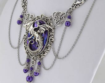 Statement Jewelry - Mother of Dragons - Purple and Antique Silver Dragon Necklace