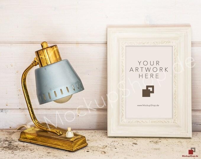 11x17 VerticalWHITE FRAME MOCKUP with old golden Lamp on vintage wooden background / digital download / instant download / gold frame mockup