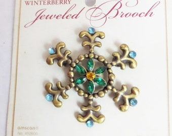 Winterberry Jeweled Snowflake Shaped Brooch With Colored Rhinestones