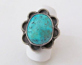 Turquoise Sterling Silver Ring, Vintage Southwestern Jewelry, Native American Jewelry, Turquoise Jewelry, Southwest Turquoise Ring Size 6