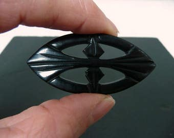 Antique Elegant Victorian Jet Brooch //  French Mourning Jewelry Carved Jet //  Vintage Jewelry