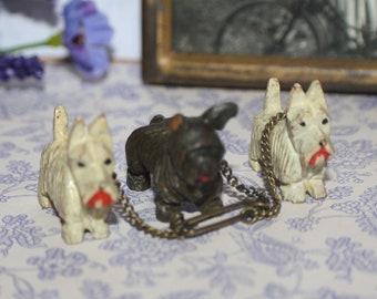 Lovely Vintage Art Deco Carved Wooden Scottie Westie Terrier Dogs Brooch