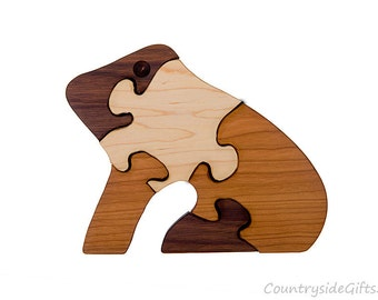 Wooden Puzzle - Natural & Organic Hardwood Frog Puzzle - Wood Toy, Wood Puzzle, Handmade, Kids, Children, Eco-Friendly