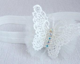 Christening ivory baby headband, flower girl hair band, tulle bow headband for baptism