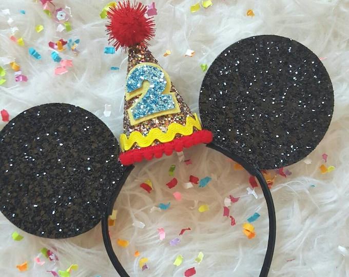 Glittery Mouse Ears Headband || Birthday Mouse Ears || Mouse Headban || Ears || Mouse Birthday