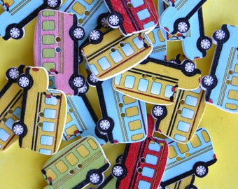 School Bus Wood Buttons - Scrap booking - Sewing - Card making - Craft supplies
