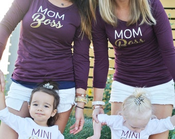 Mommy and Me Boss Long Sleeve Shirts -- Mom Boss & Mini Boss Tops, Network Marketing Shirt, Baby, Infant, Toddler Girls Matching Girl Boss