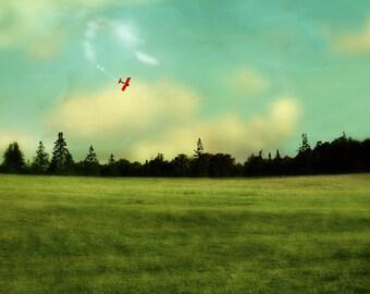 Airplane Decor Art for the Nursery Canadian Sellers Nova Scotia Aqua Landscape Photography Amelia Earhart - Flight of Dreams