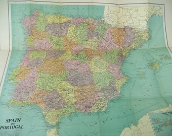 Spain and Portugal Maps Philip-Stanford Authentic Reference - Vintage Aged Paper Booklet with Large Fold Out Map of Spain & Portugal ©1954