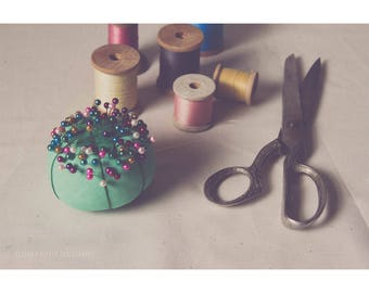 Still Life Photography Sewing Room Decor Vintage Spools Of Thread Pastel Decor For Her Dreamy Photography Craft Room Art Pink Green Blue