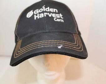 Distressed Golden Harvest Corn Trucker Adjustable hat cap embroidered black and white