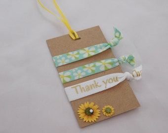Flower Hair Ties - Thank You FOE's - Ponytail Holder Party Favors - Hair Accessories