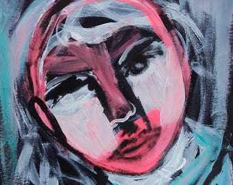 Portrait Original Art Strange Face Fine Art Portrait Wall Art Contemporary Art Céline Marcoz Art