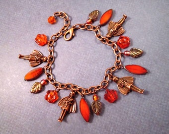 Garden Fairy Charm Bracelet, Hyacinth Flower and Copper Chain Bracelet, FREE Shipping U.S.