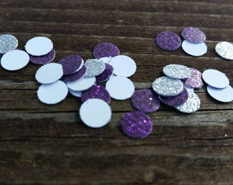 Glitter Cardstock Circle Confetti - Hand punched Table Scatter - Silver, Purple, Gold, Blue, Pink, Red