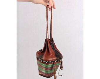 Vintage leather purse / African Handbag / Tuareg tribal geometric painted leather pouch