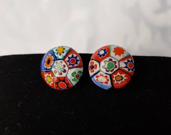 Vintage Clip On Millefiori Earrings, Millefiori Earrings, Clip On Earrings, Millefiori, Glass Jewelry