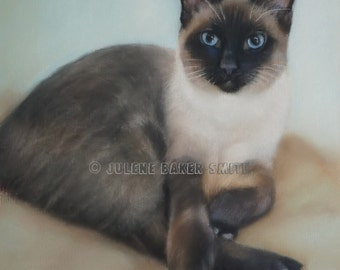 Siamese Cat Art, Siamese Gift, Siamese Cat Lover, Siamese Portrait