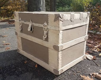 SOLD! Hand Painted Antique Steamer Trunk - Local Pickup/Delivery Only