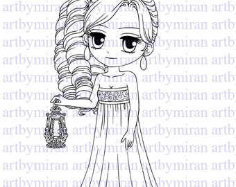 Digital Stamp-Elena, Digi Stamp, Coloring page, Printable Line art for Card and Craft Supply