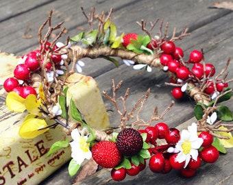 The Rose Garden - Flowered Berry EDM Festival Headband, Crown, Festival hair decor, Boho headband, Mermaid Fascinator, Red Tiara