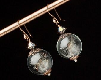 Dandelion Earrings, Wish Earrings with Dandelion Seeds, Glass Orb Earrings in Copper Rose Gold Filigree, Pearl & Crystal Dandelion Jewelry